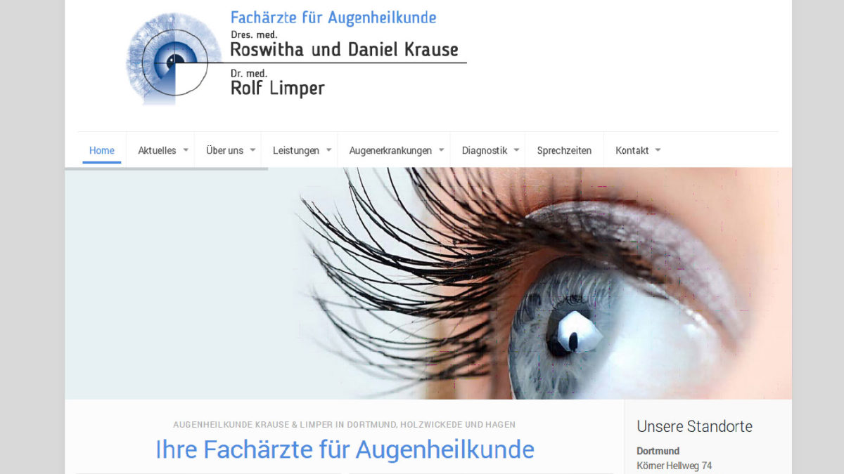 Neue Webseite für Augenheilkunde Krause & Limper